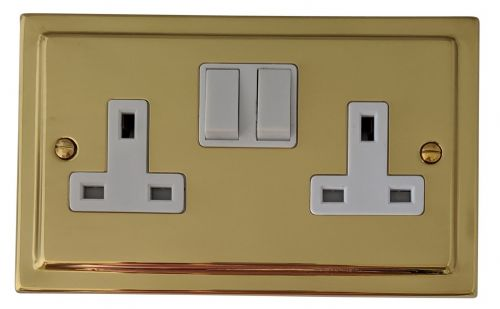 G&H TB10W Trimline Plate Polished Brass 2 Gang Double 13A Switched Plug Socket